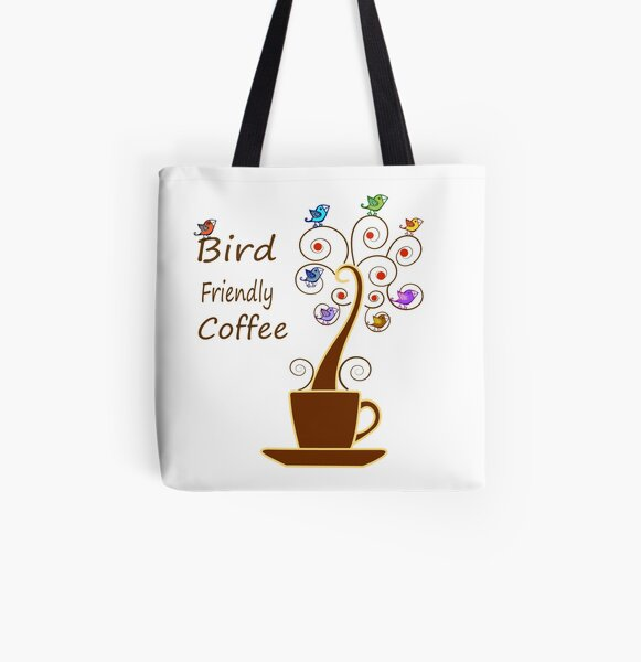 Save Birds' Habitats with Bird Friendly Coffee All Over Print Tote Bag