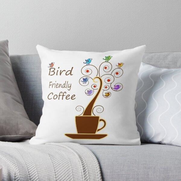 Save Birds' Habitats with Bird Friendly Coffee Throw Pillow