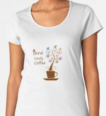 Save Birds' Habitats with Bird Friendly Coffee Premium Scoop T-Shirt