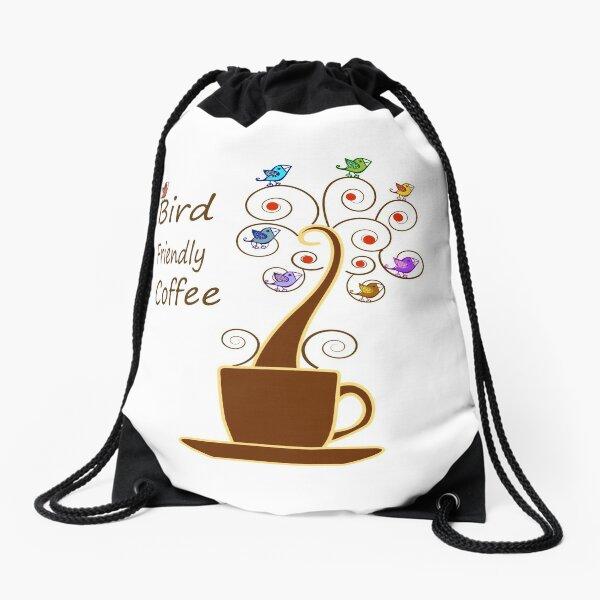 Save Birds' Habitats with Bird Friendly Coffee Drawstring Bag