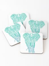 Not a circus turquoise elephant by #Bizzartino Coasters