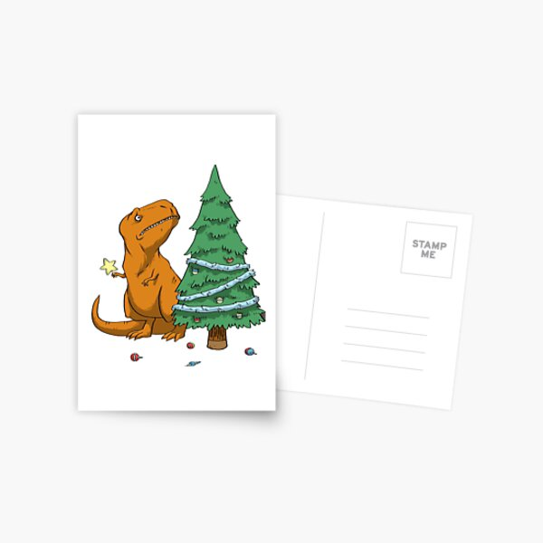 t rex christmas Postcard