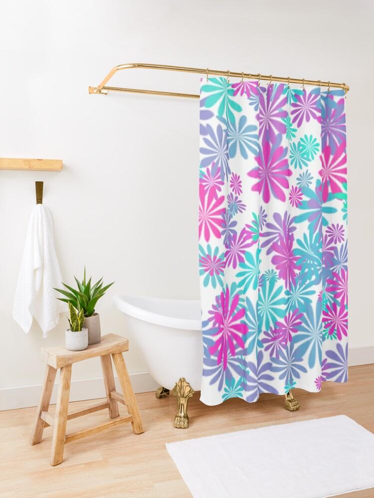 Alternate view of Flower power Shower Curtain
