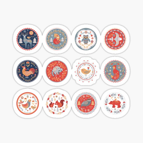 12 circular ornaments with animals, birds and plants.  Sticker