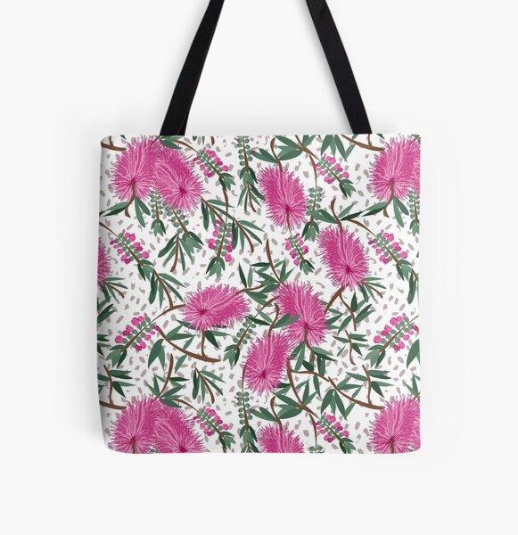 Australian Native Bottlebrush pattern All Over Print Tote Bag