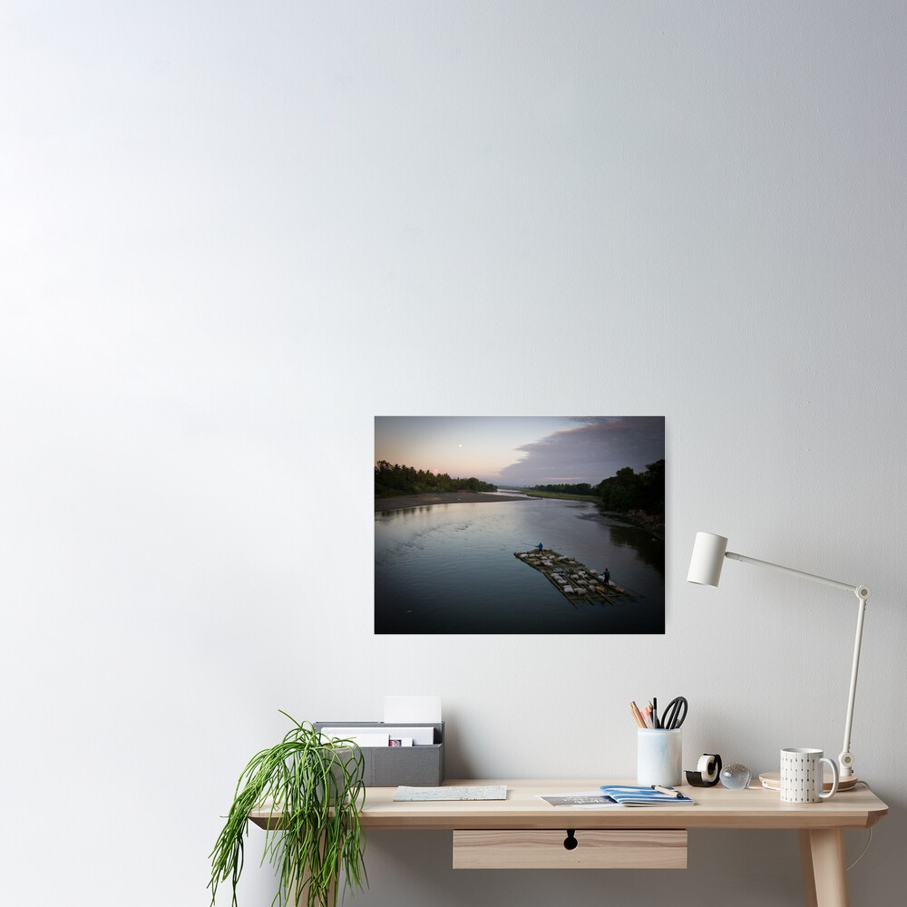 Bamboo boat by moonlight Poster