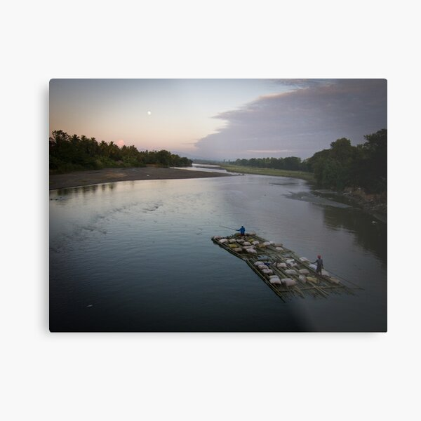 Bamboo boat by moonlight Metal Print