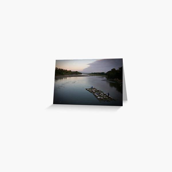 Bamboo boat by moonlight Greeting Card