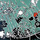 """Tryptic Flower Woodcut Print by Belinda """"BillyLee"""" NYE (Printmaker)"""