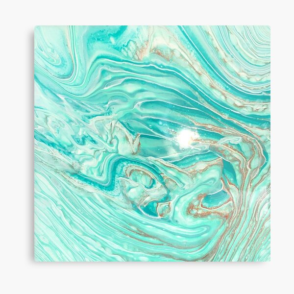 Turquoise, gold, and white abstract Metal Print