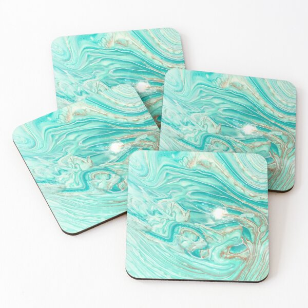 Turquoise, gold, and white abstract Coasters (Set of 4)