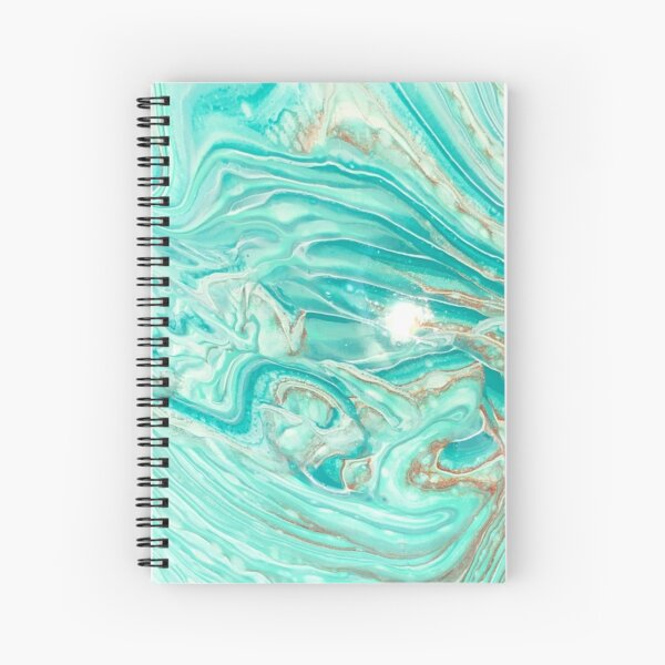 Turquoise, gold, and white abstract Spiral Notebook