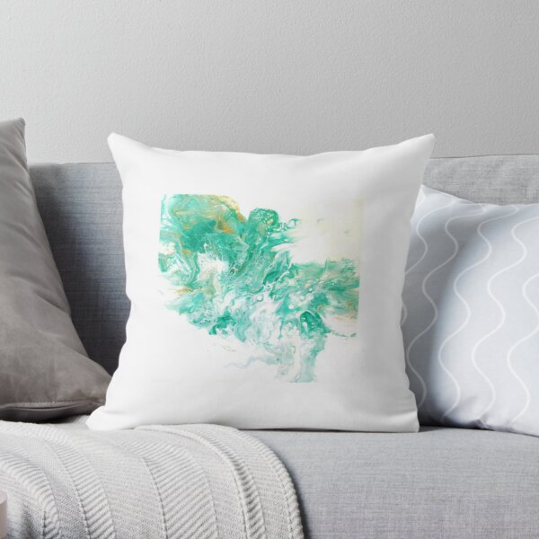 Dutch pour with turquoise, gold, and white. Throw Pillow