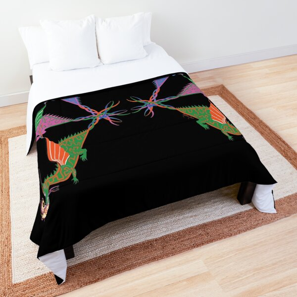 Six Colorful, Fire-Breathing Dragons Comforter