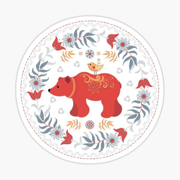 A Bear and a Little Chick. Scandinavian style. Folk Art. Sticker