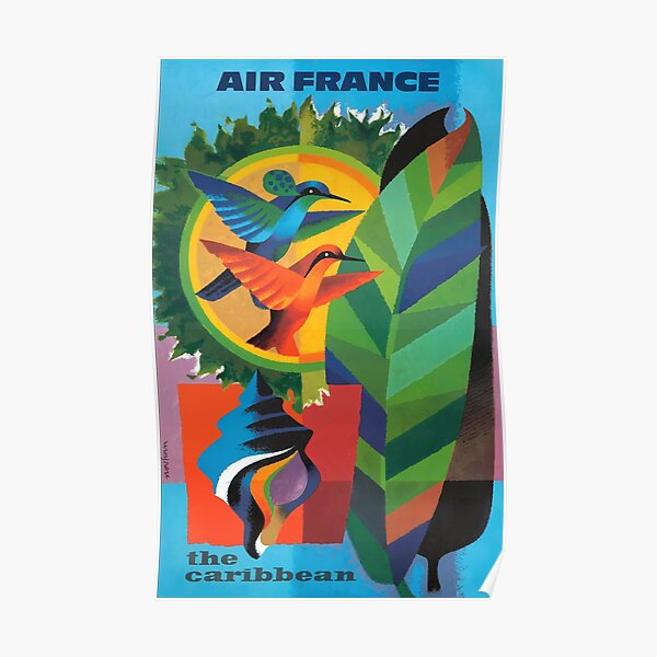1964 Air France The Caribbean Travel Affiche Poster