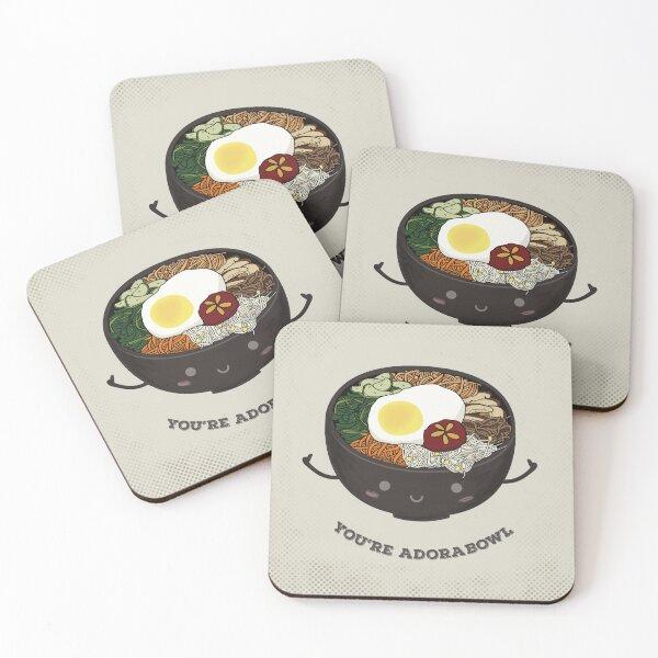 bibimbap, korean food, funny memes for foodies Coasters (Set of 4)