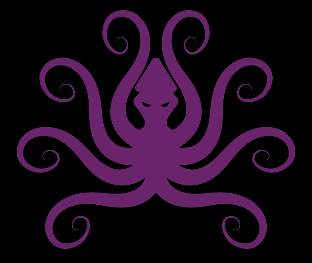 Black with Purple Octopus by mintdawn
