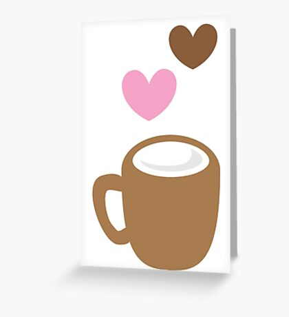 LOVE COFFEE funky retro simple coffee cup with love heart Greeting Card