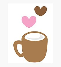 LOVE COFFEE funky retro simple coffee cup with love heart Photographic Print