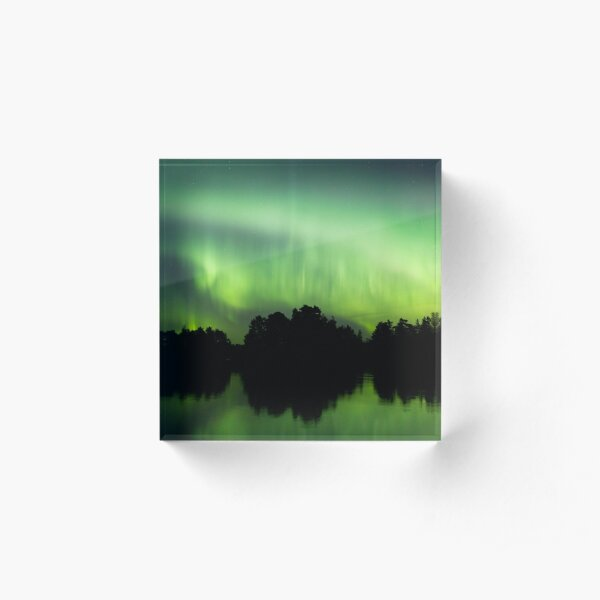 Northern lights glowing over lake in Finland Acrylic Block