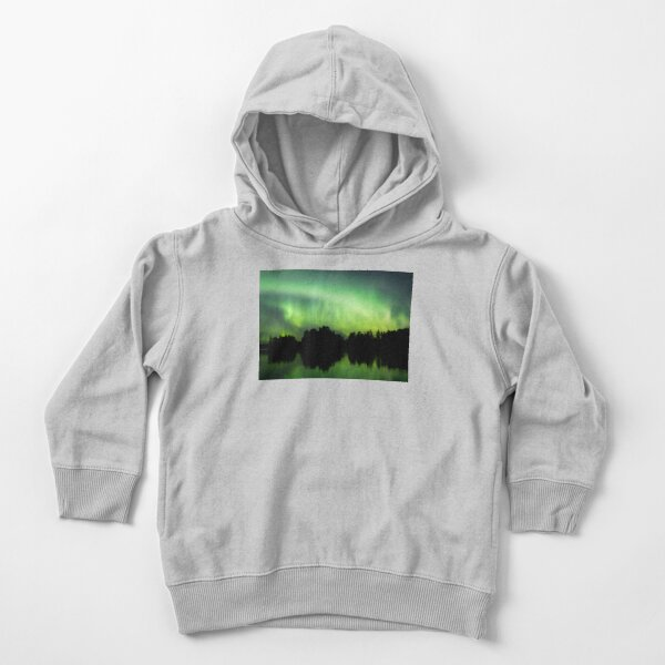Northern lights glowing over lake in Finland Toddler Pullover Hoodie