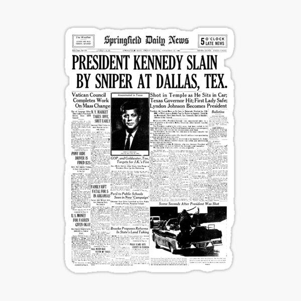 Kennedy Assassination Newspaper Headline design  Sticker
