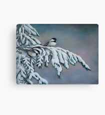 Chick-a-dees in the Snow Canvas Print