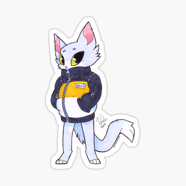 MEOW - Traditional art, Cat in jacket Sticker