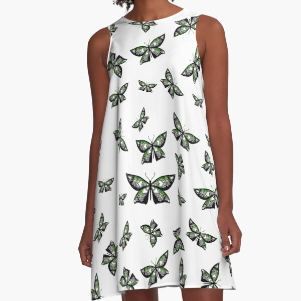Fly With Pride: Aromantic Flag Butterfly A-Line Dress