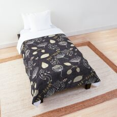 Winter Floral Charcoal Comforter