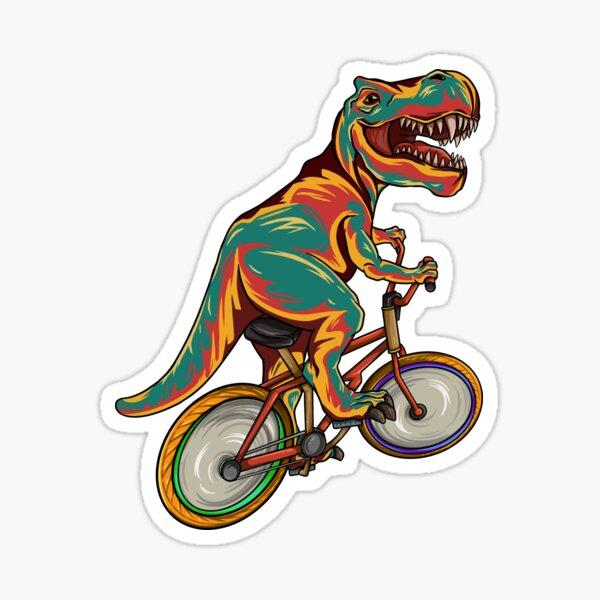 T Rex Riding Bicycle - Funny Dinosaur Bike Cyclist Sticker