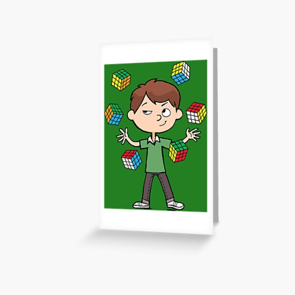 juggles with a magic cubes Greeting Card