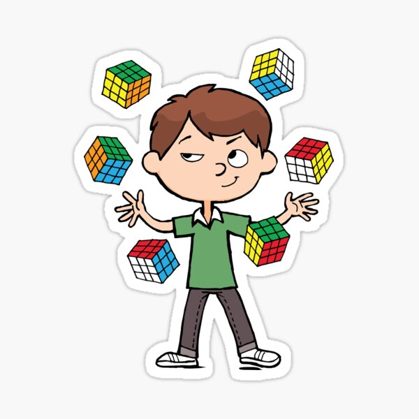 juggles with a magic cubes Sticker