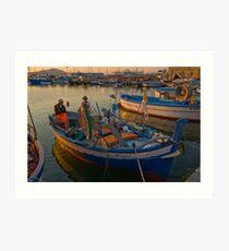 Sardinian fishermen at sunset. Art Print