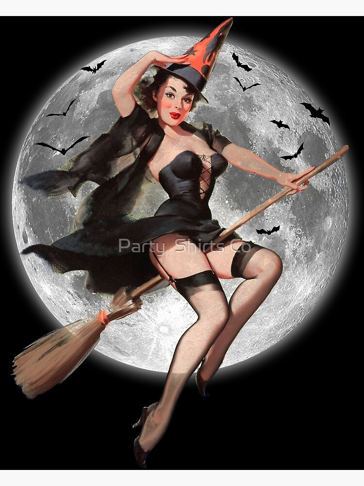 Halloween Pin Up Witch Postcard By Mfinlay7 Redbubble