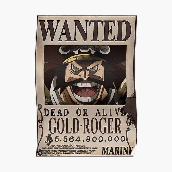 Gold Roger Wanted Bounty Poster