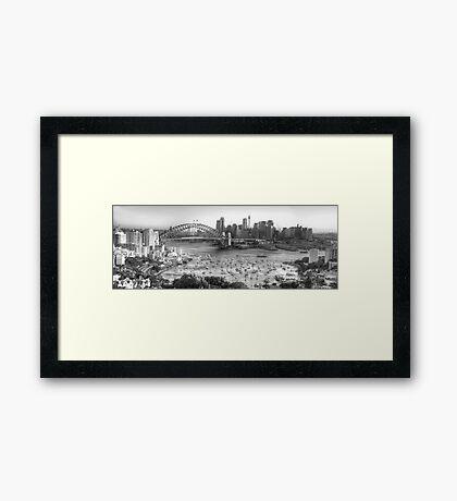 La Stupenda (Black & White) - Sydney Harbour, Sydney  Australia - The HDR Experience Framed Print