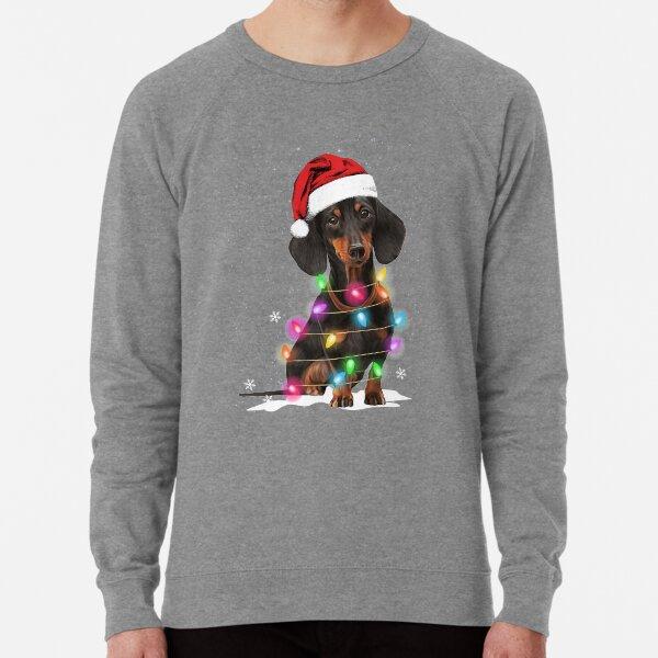 Dachshund Christmas Lights With Snow Sweater Lightweight Sweatshirt