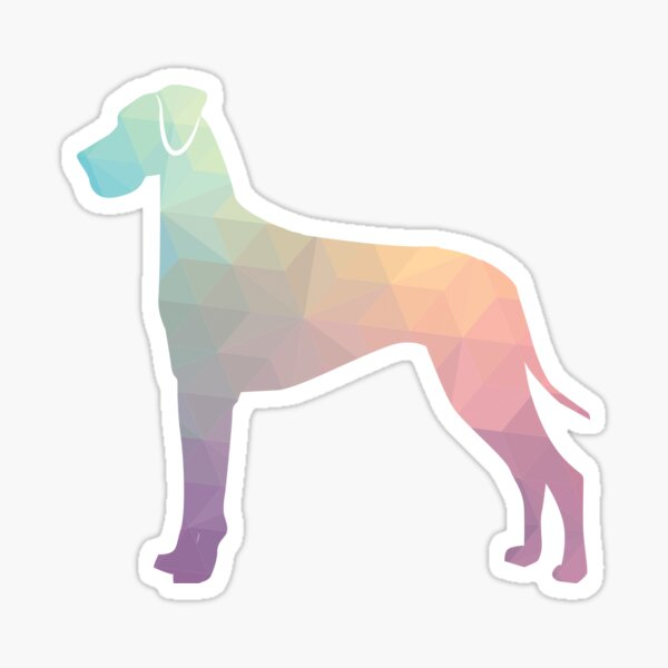 Great Dane Dog Breed Silhouette Filled with Geometric Pattern in Pastel Sticker