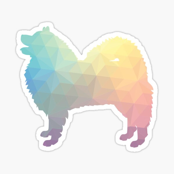 Samoyed Dog Breed Silhouette Filled with Geometric Pattern in Pastel Sticker