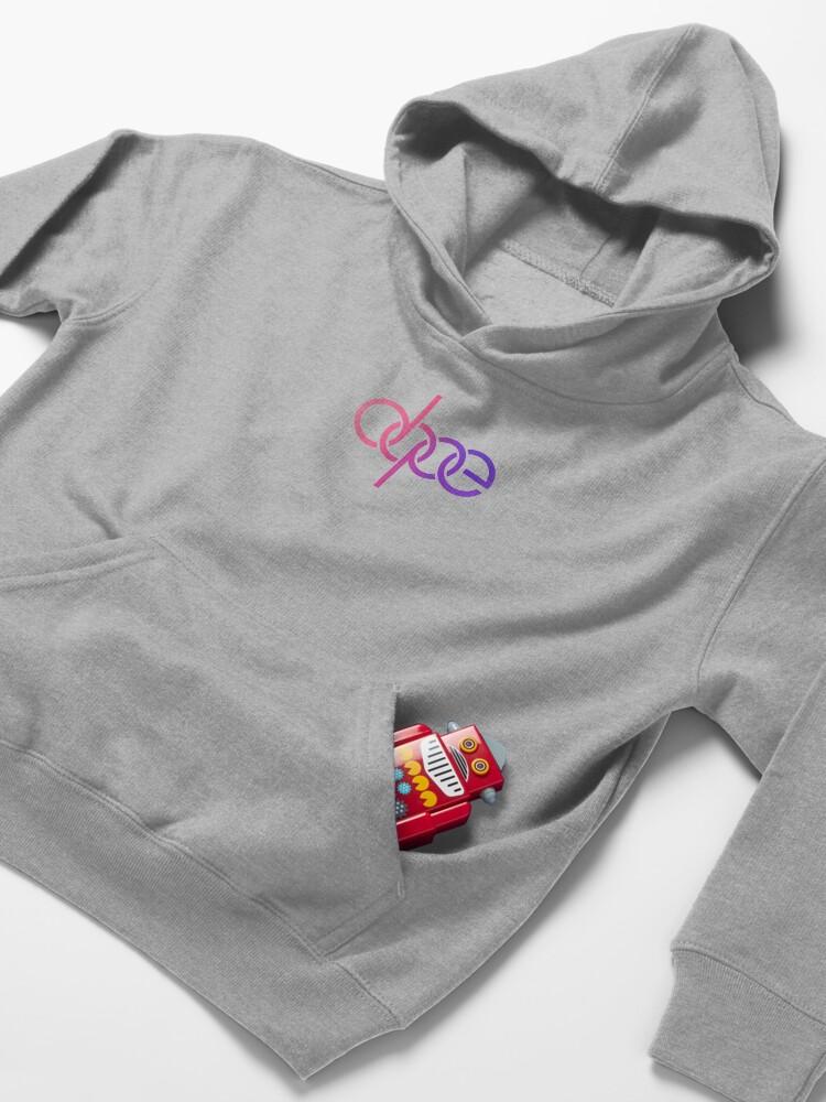 Alternate view of Dope Audi Logo (Pink Gradient) | Gift for Girlfriend Kids Pullover Hoodie