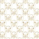 Cute Gold Strokes Llama Animal White Pattern by InovArtS