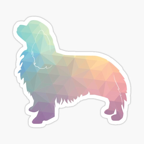 Cavalier King Charles Spaniel Dog Breed Silhouette Filled with Geometric Pattern in Pastel Sticker