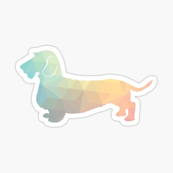 Rough Dachshund Dog Breed Silhouette Filled with Geometric Pattern in Pastel Sticker