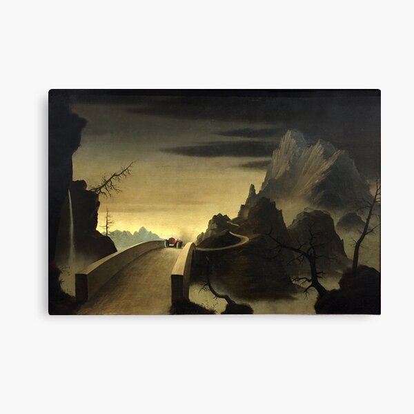 Franz Sedlacek - Mountain Landscape with Automobile Canvas Print