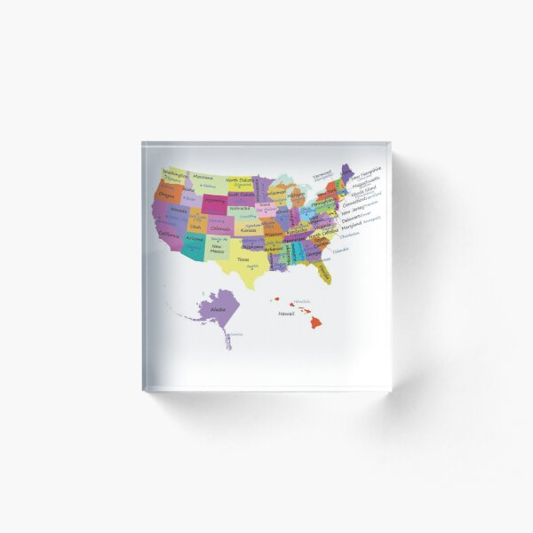 USA map with states and capital cities  Acrylic Block