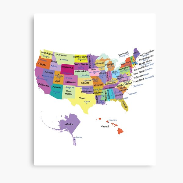 USA map with states and capital cities  Metal Print