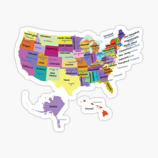 USA map with states and capital cities  Sticker