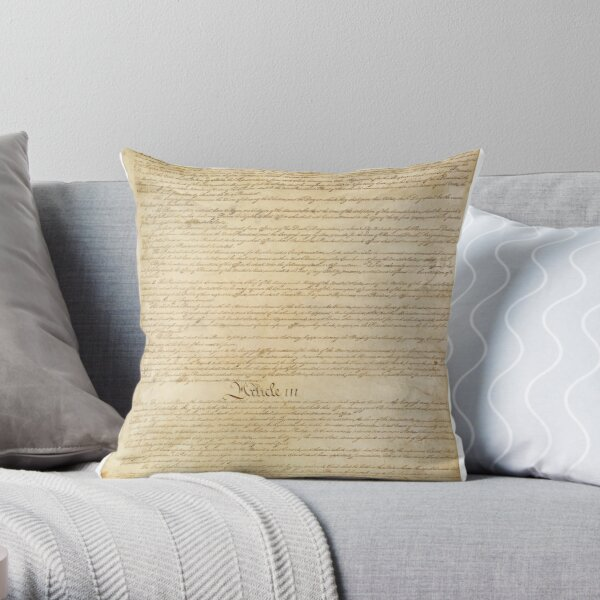 Original Page 3 of the United States Constitution Throw Pillow